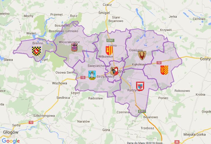 Mapa obszaru działania Powiatowego Urzędu Pracy w Lesznie